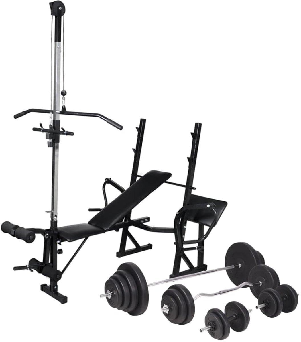 vidaXL Trainingsbank met gewichtenrek en halterset 120 kg kopen