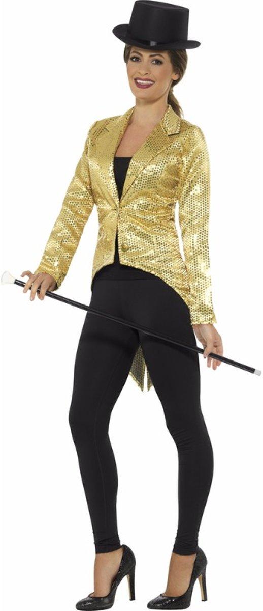 Gouden slipjas met pailletten verkleed kostuumjas voor dames Goud thema Circuscabarettheaterparadeshow verkleedoutfit Maat 36 38