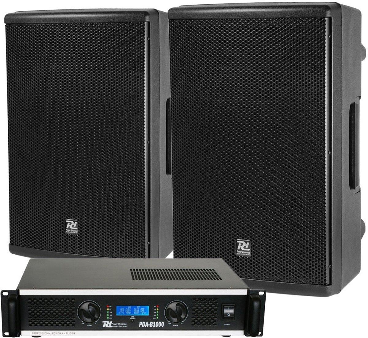 Power Dynamics complete geluidsinstallatie met PD415P speakers en PDA-B1000 versterker kopen