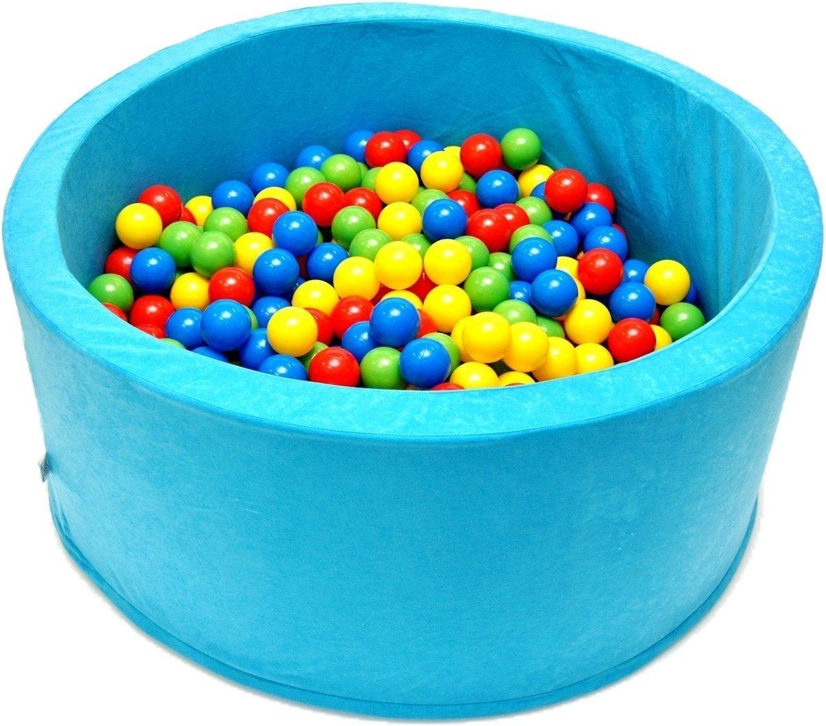Ballenbak - stevige ballenbad -90 x 40 cm - lichtblauw inclusief 200 ballen Ø 7 cm - geel, groen, blauw en rood