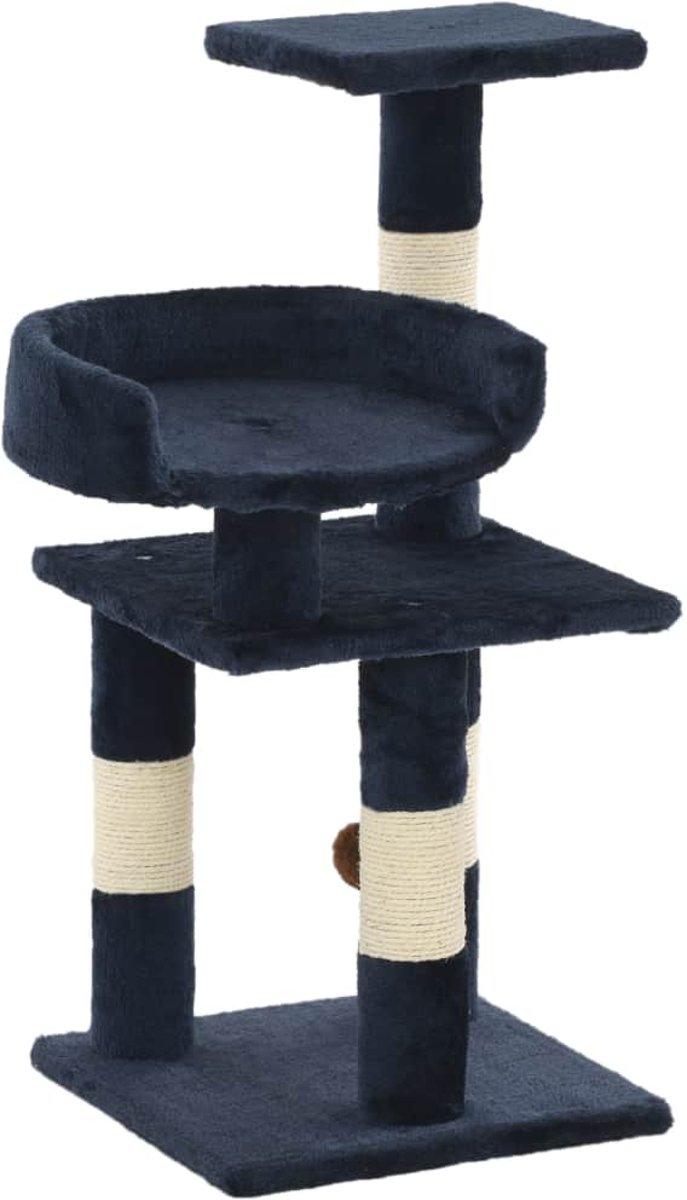 vidaXL Kattenkrabpaal met sisal krabpalen 65 cm blauw