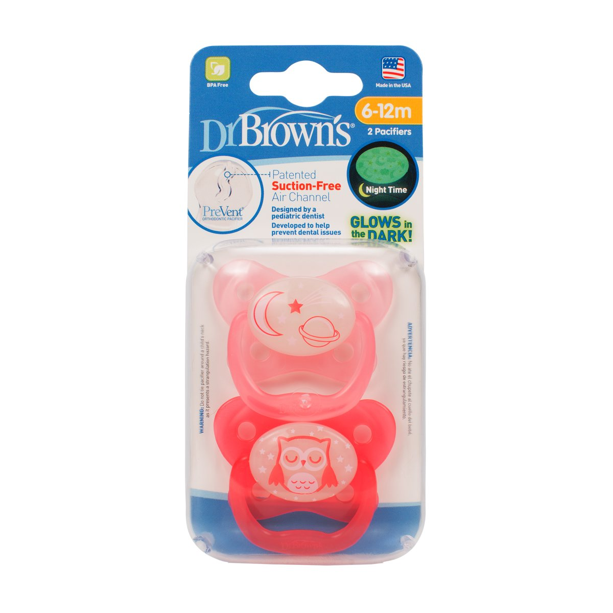 Dr.Brown's - Fopspeen roze fase 2 glow in the dark (2 st.)
