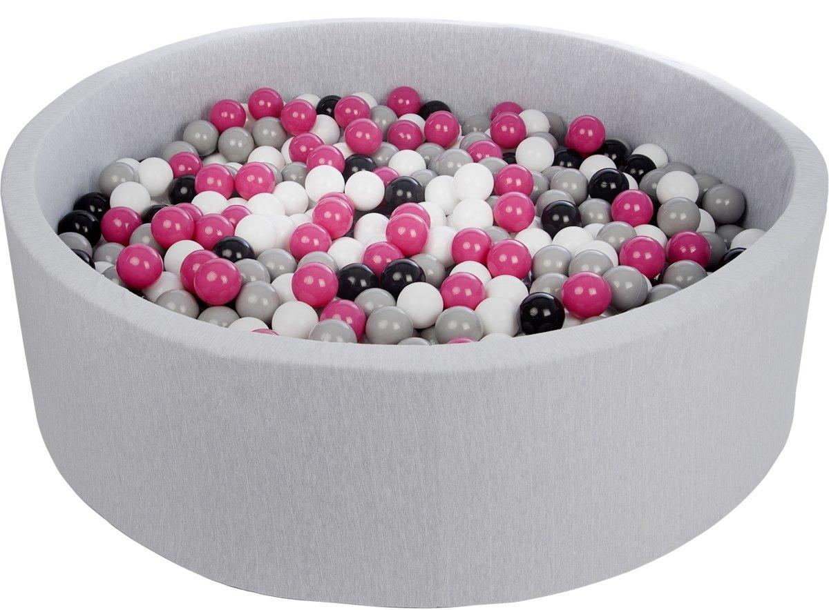 Zachte Jersey baby kinderen Ballenbak met 900 ballen, diameter 125 cm - zwart, wit, roze, grijs