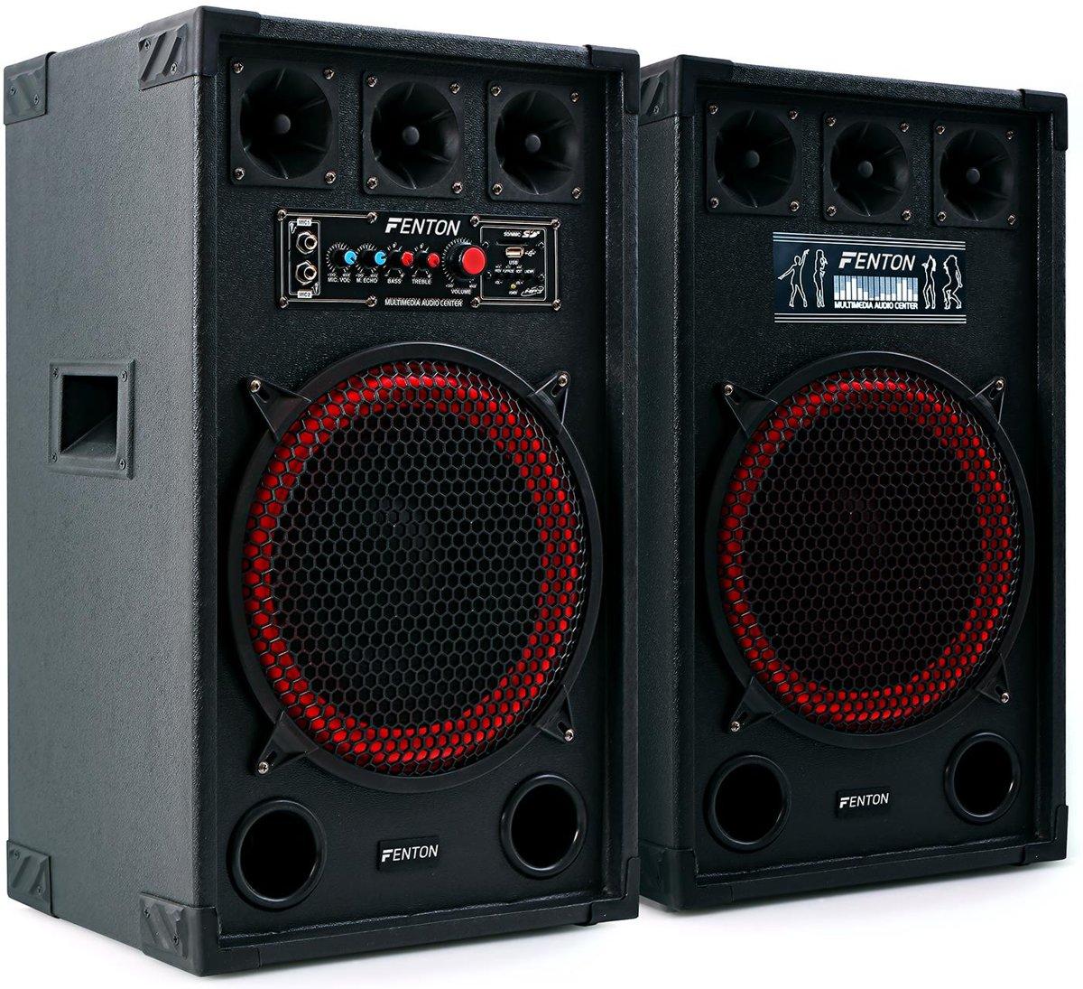 """Fenton SPB-12 800W Actieve 12"""" Luidsprekerset - Zwart kopen"""