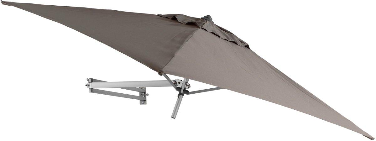Easysol Muurparasol Vierkant - 200x200cm - Taupe - Parasol met muurbevestiging