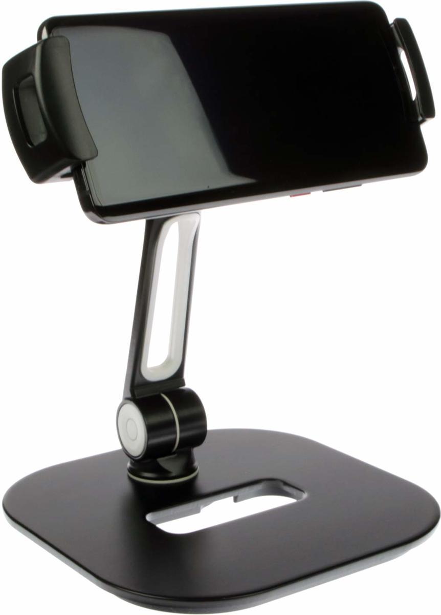 Unversele houder 360 ° draaibaar | Voor tablet, mobiele telefoon, smartphone & camera | Stabiele aluminium voet zwart | Desktopstaander kopen