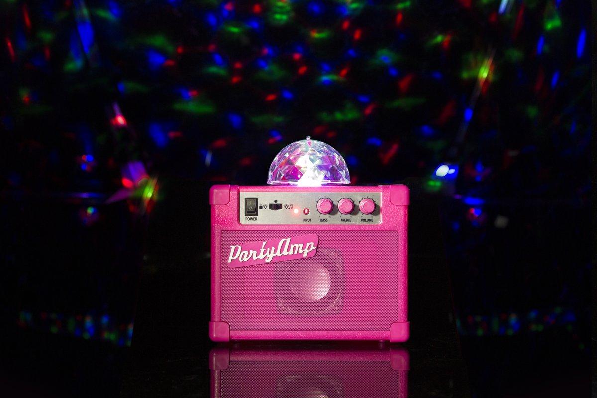 Fizz Creations Versterker met Draaiende Disco Bol en LED verlichting - Roze