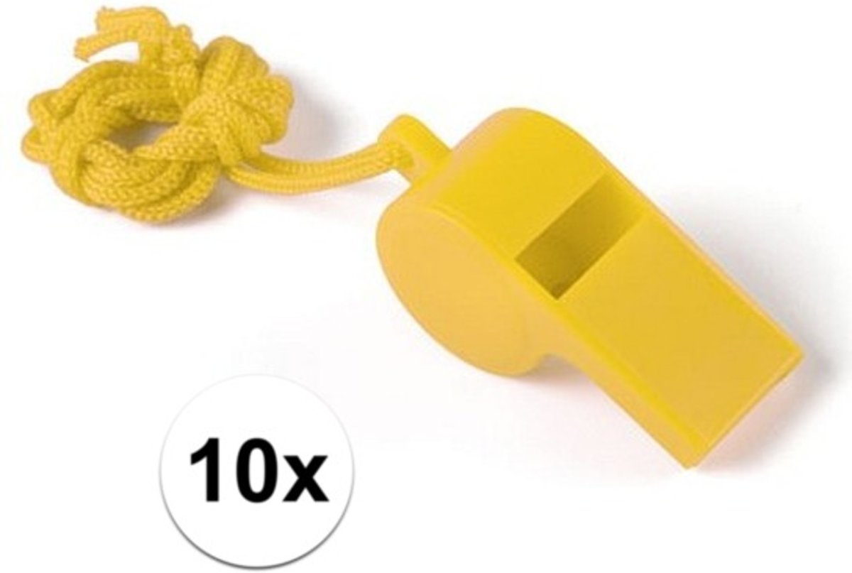10 Stuks gele sportfluitjes aan koord kopen