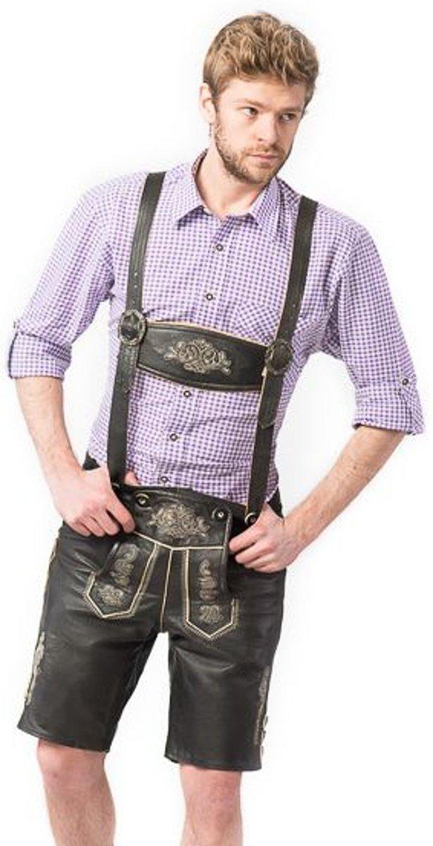 Oktoberfest korte lederhosen voor heren type: Max, 100% Wildbock leder mt 46