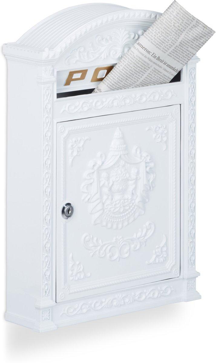 relaxdays brievenbus Engelse muur-brievenbus nostalgie, A4 formaat, antiek wit