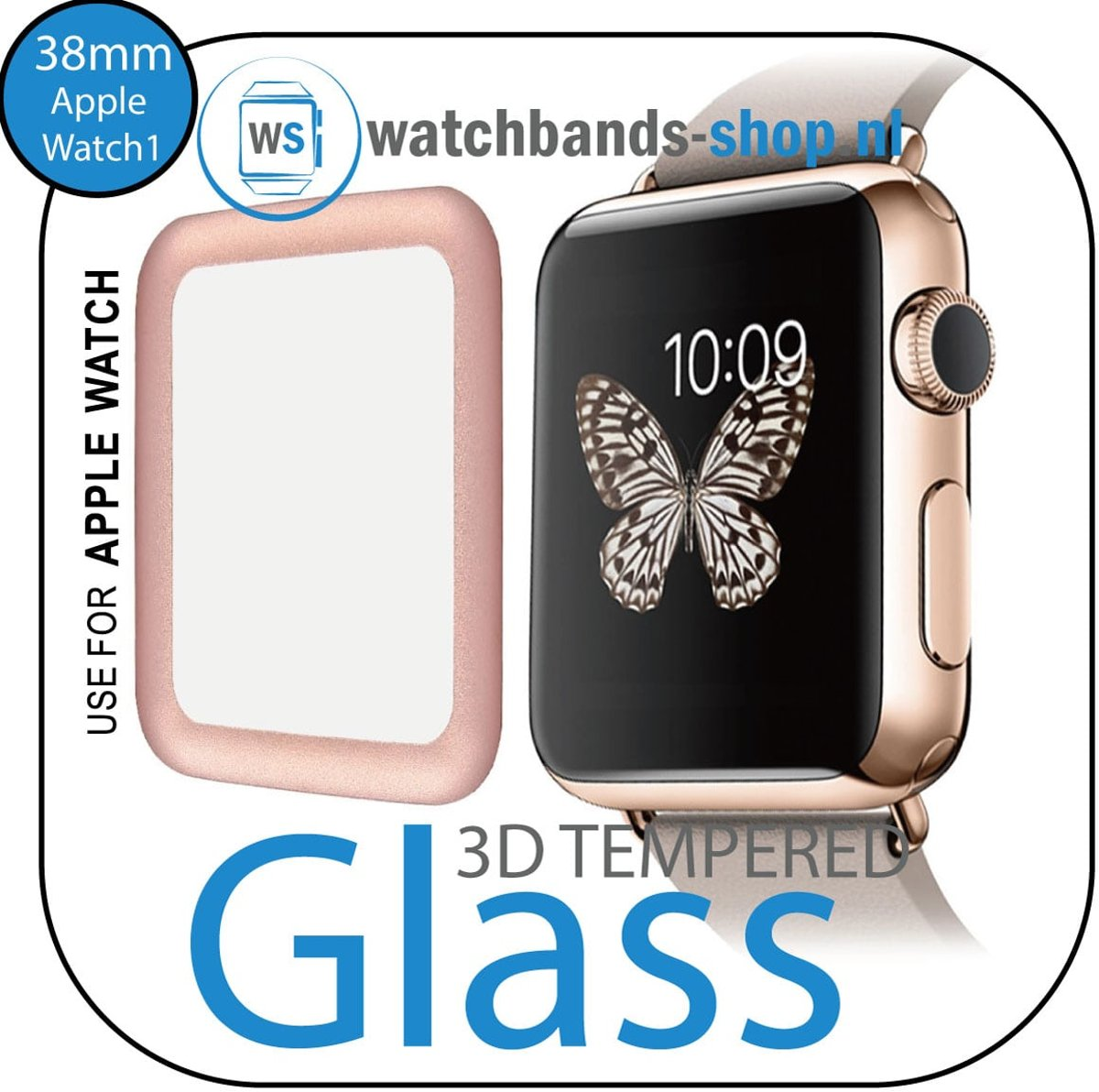 38mm full Cover 3D Tempered Glass Screen Protector For Apple watch / iWatch 1 rose gold edge Watchbands-shop.nl kopen