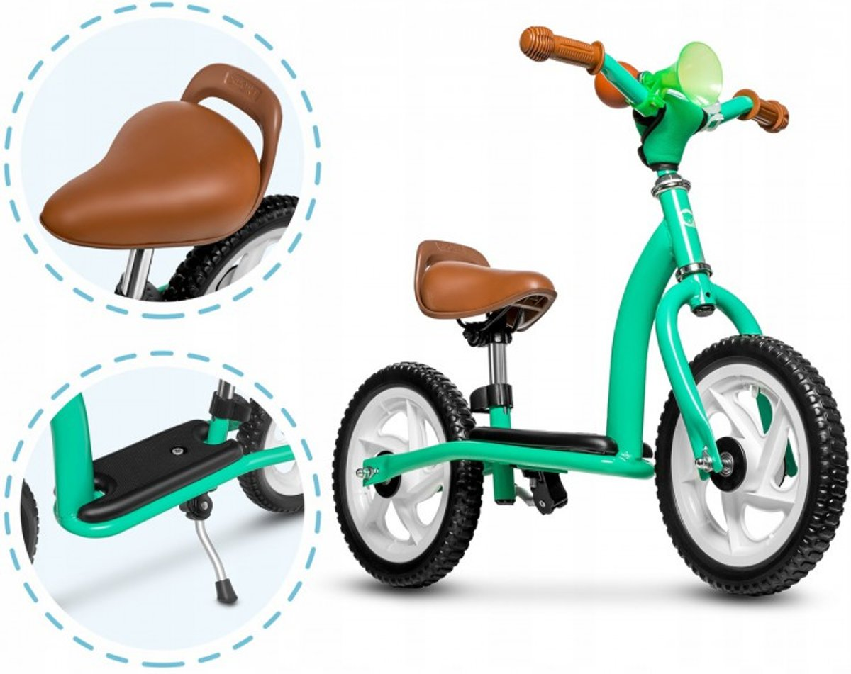 Lionelo Roy -2 in 1 loopfiets balancebike & Step in leuk design inclusief helm - turquoise