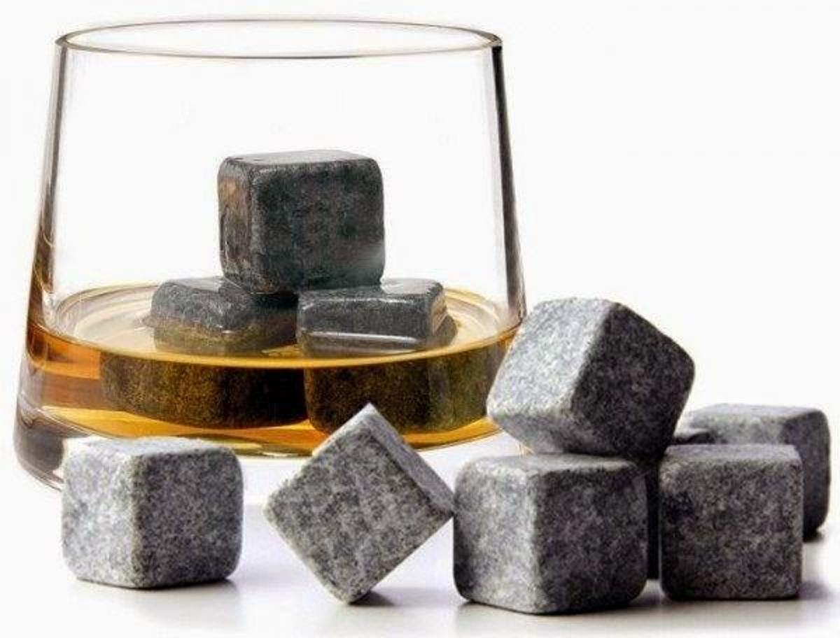 Whiskey Stenen Ijsblokjes 9 Stuks met Opbergzakje – Natural Whiskey Stones Pouch Set kopen