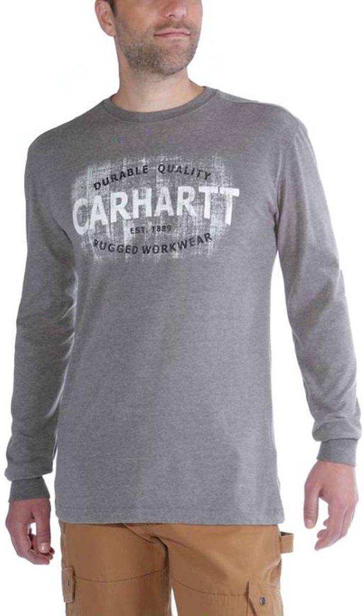 Carhartt Maddock Rugged Workwear Logo Graphic L-S Granite Heather Shirt Heren kopen