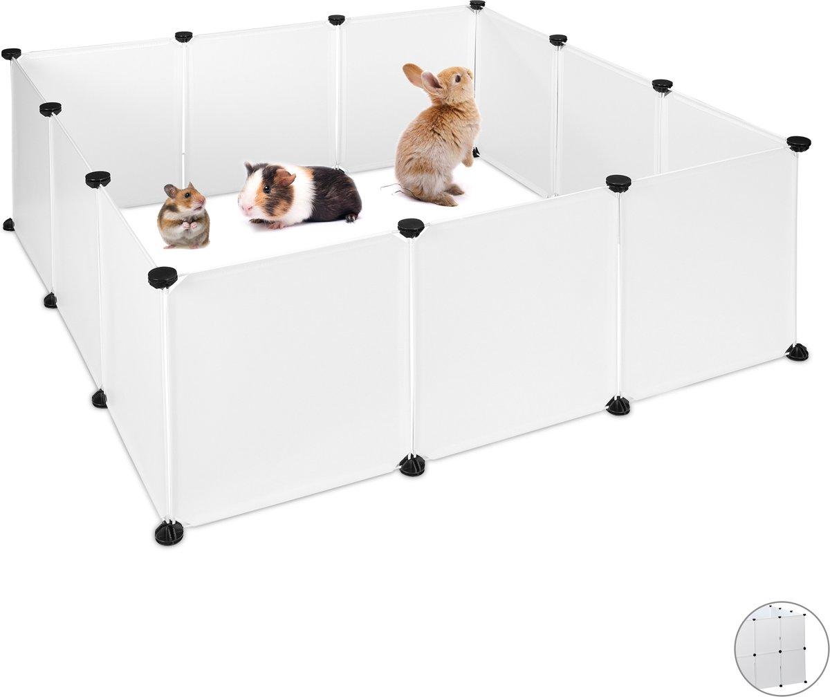 relaxdays konijnenren - DIY ren kunststof- uitbreidbare ren knaagdier - in het wit Pak van 12