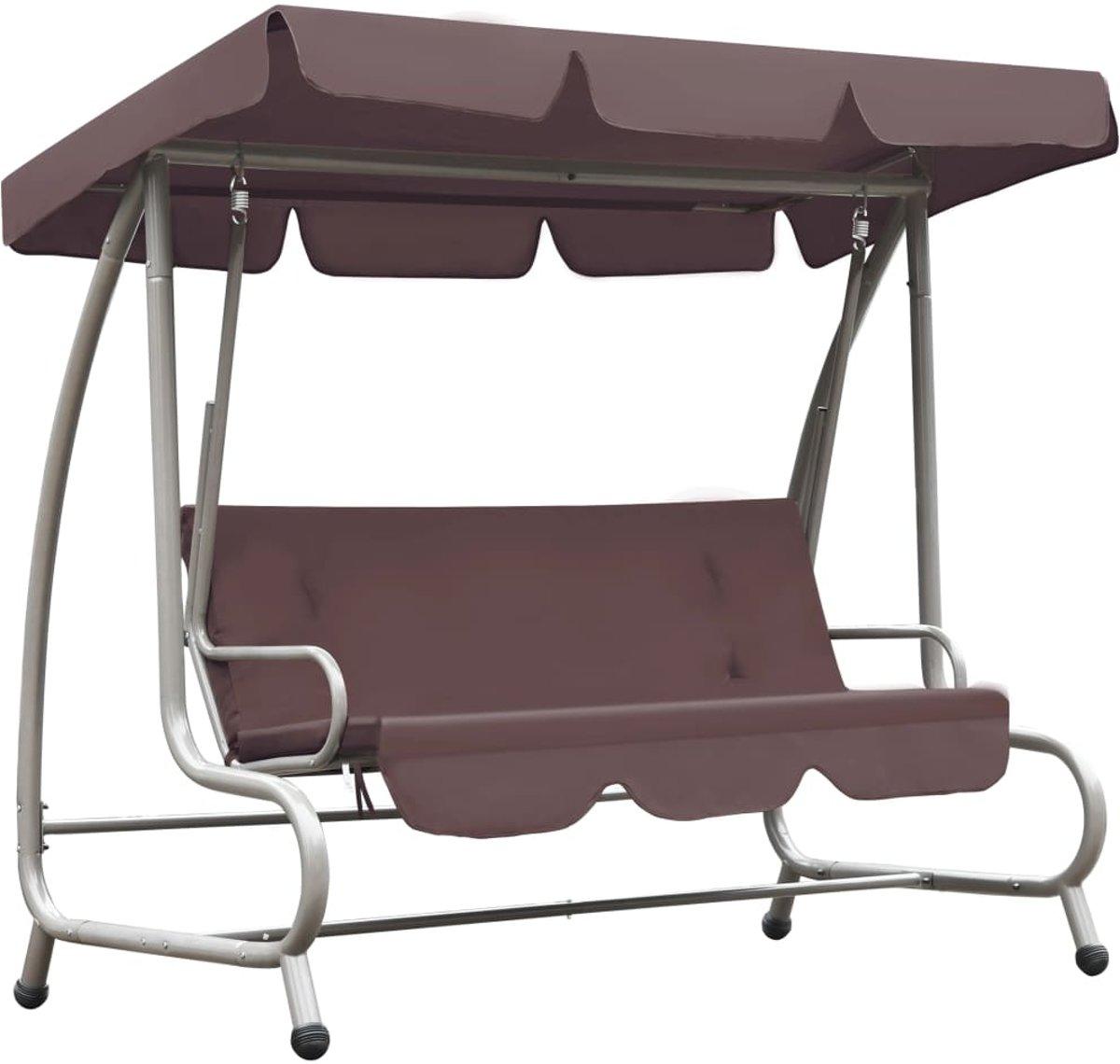 vidaXL Schommelstoel voor buiten met luifel koffiekleurig kopen