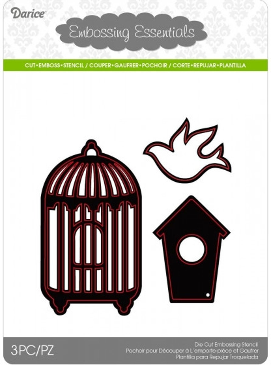 Afbeelding van product Die cut stencil birdhouses 52x90mm + 41x55mm + 45x34mm