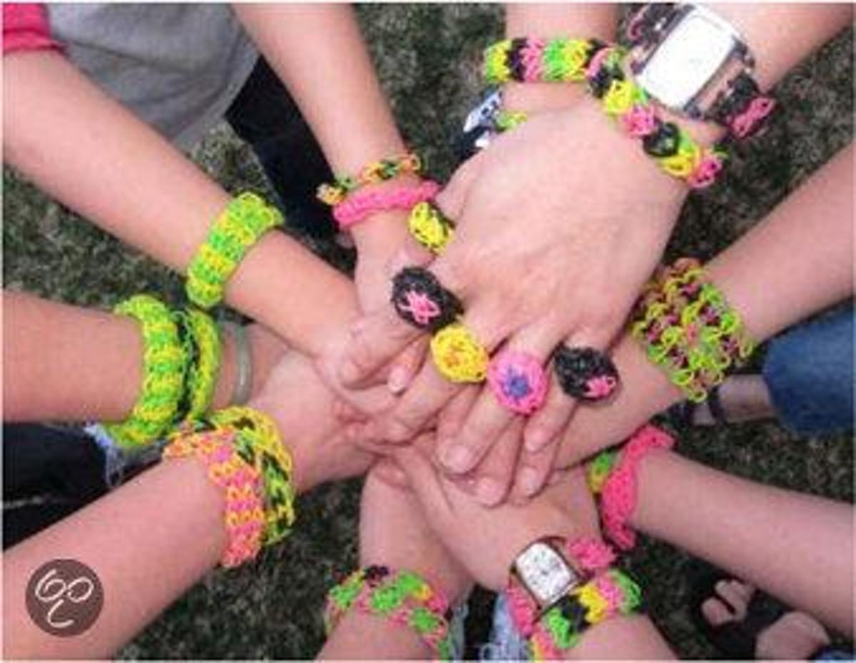 Rainbow Loom Elastiekjes - Glitter Goud - Met 12 Clips