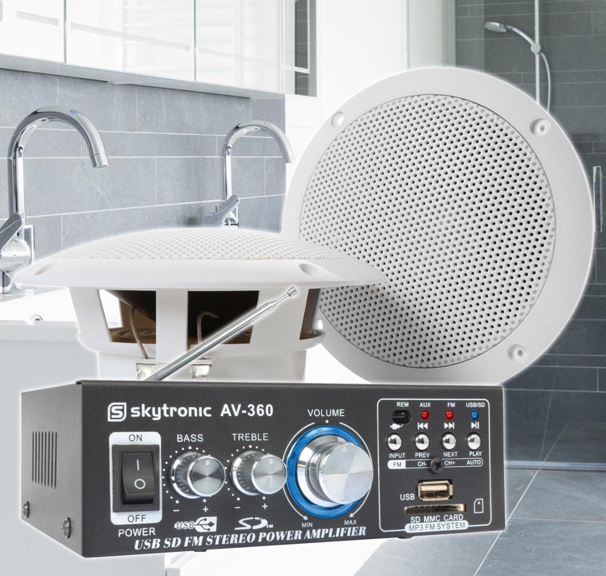 """SkyTronic badkamer speakerset 5"""" incl. versterker en 10 meter luidsprekerkabel kopen"""