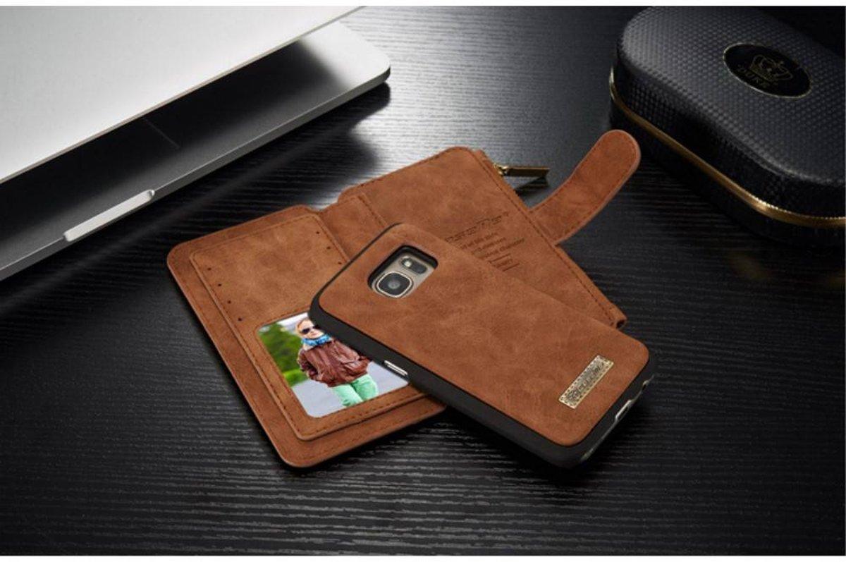 ff9627a8d25 bol.com | 2 in 1 bruin split lederen portemonnee hoes met rits en veel  ruimte voor de S7 Samsung.
