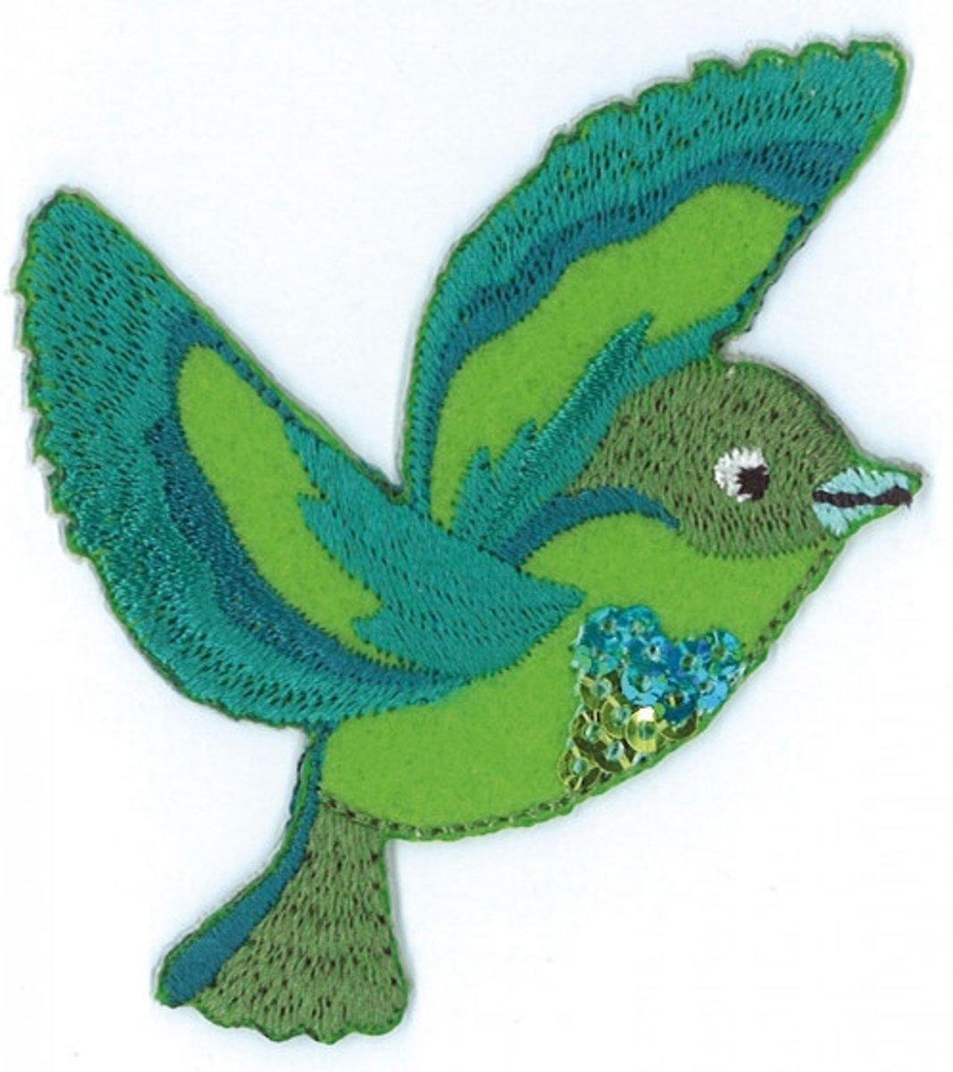 Afbeelding van product Iron on badges green bird