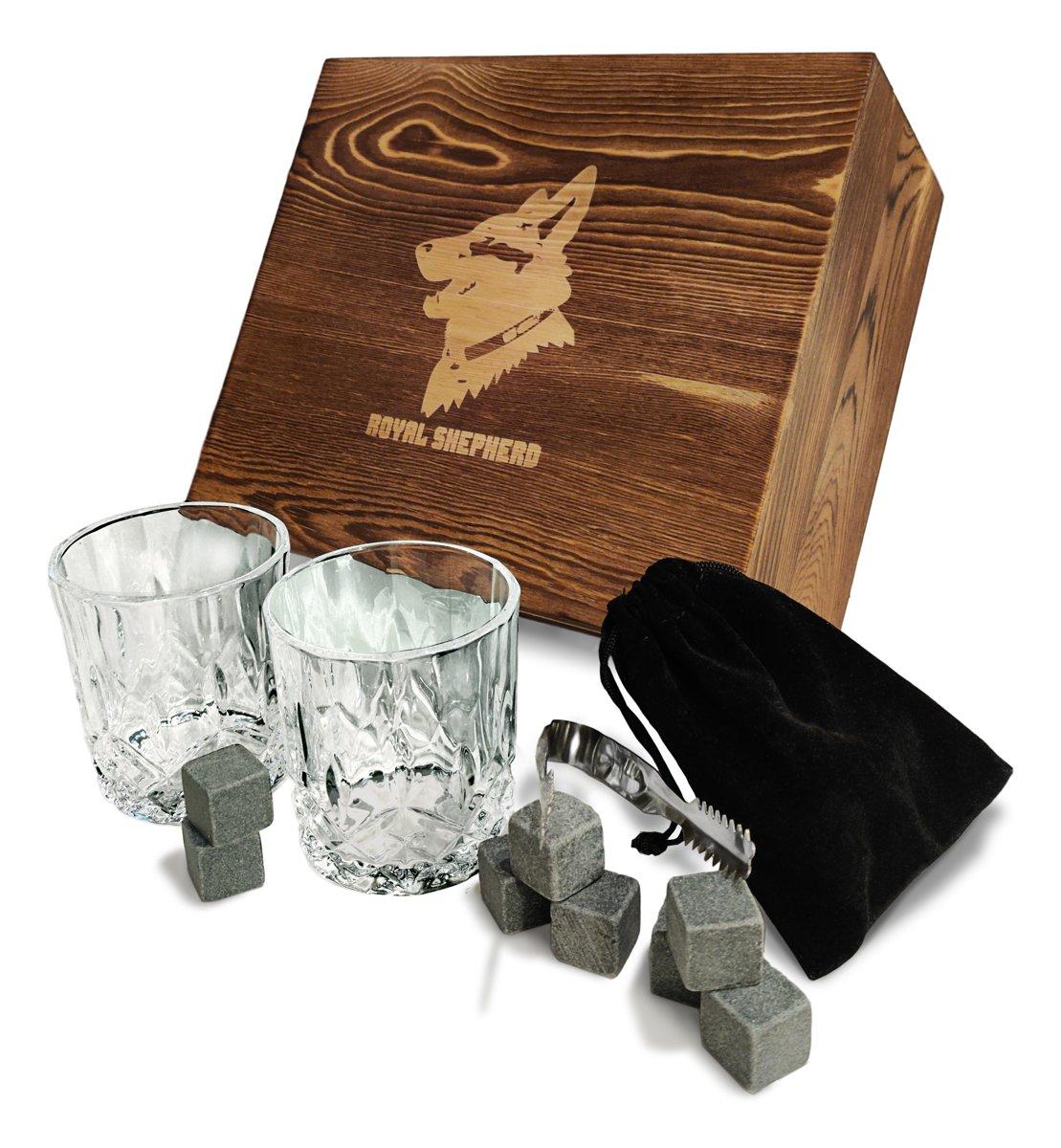 Whiskey Set - 2 Glazen - 8 Whiskey Stones - Cadeauset - Royal Shepherd – Natuursteen - Tang - Whisky kopen