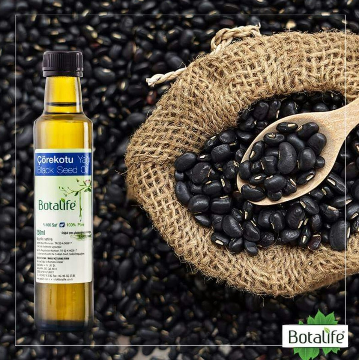 Foto van Botalife - Zwarte komijnzaad olie 250 ml -100% natuurlijk & koud geperst