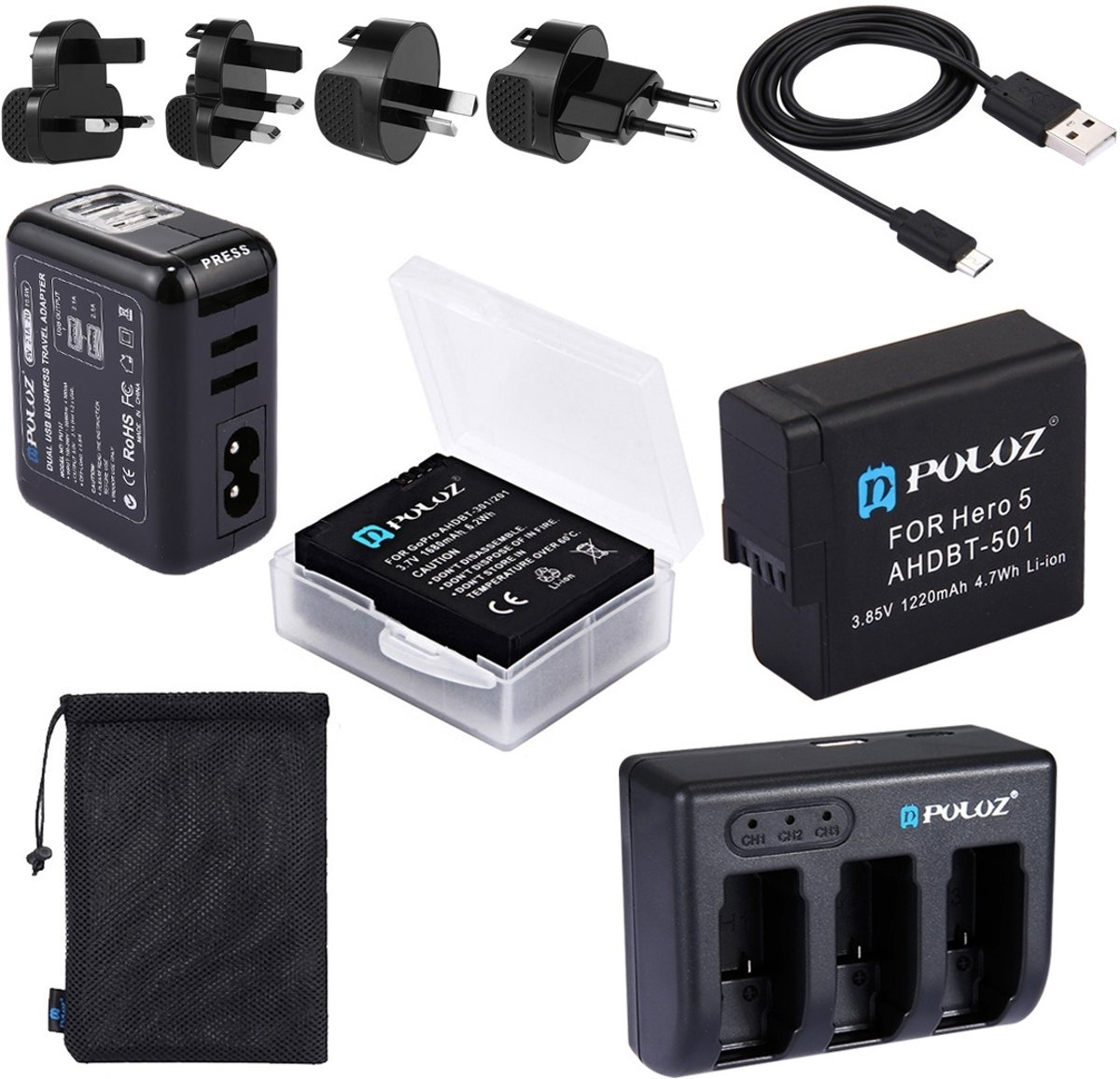 PULUZ 5 in 1 AHDBT-501 3.85V 1220mAh Battery + AHDBT-501 3-channel Battery Charger +  Mesh Storage Bag + Battery Storage Box + 2-Port USB 5V (2.1A + 2.1A) Wall Charger Kit voor GoPro HERO5 kopen