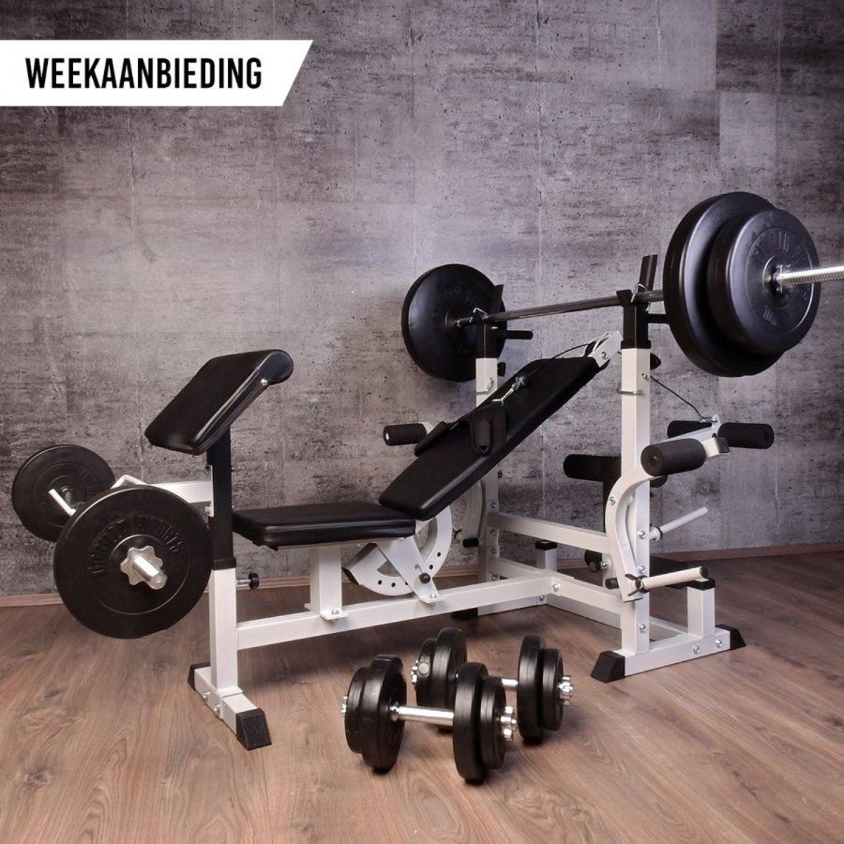 Gorilla Sports Halterbank multifunctioneel  incl. 100 kg Halterset kopen