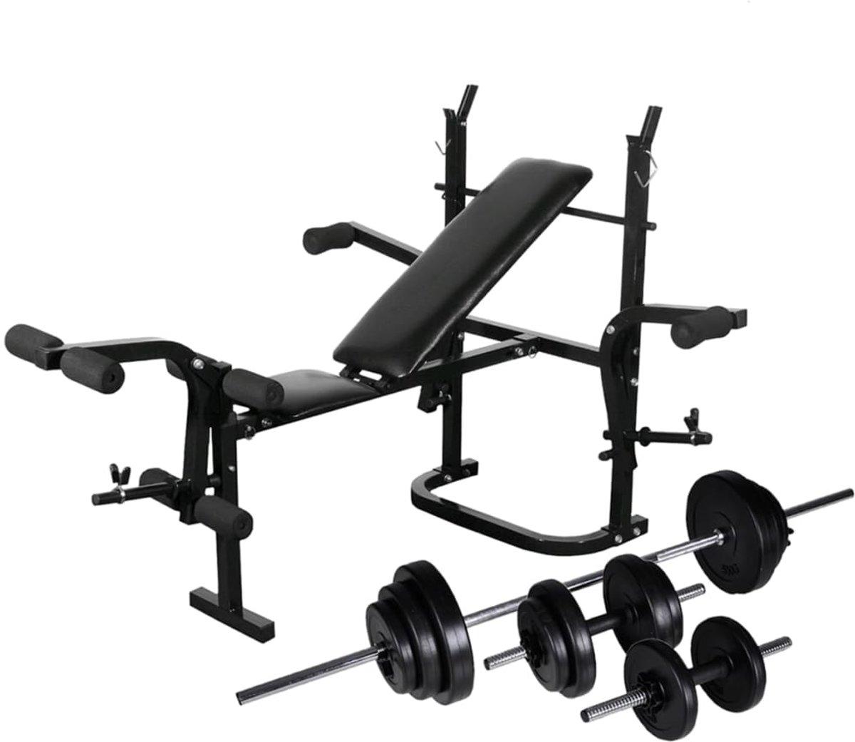 vidaXL Gewichtenbank met gewichtenrek en halterset 30.5 kg kopen