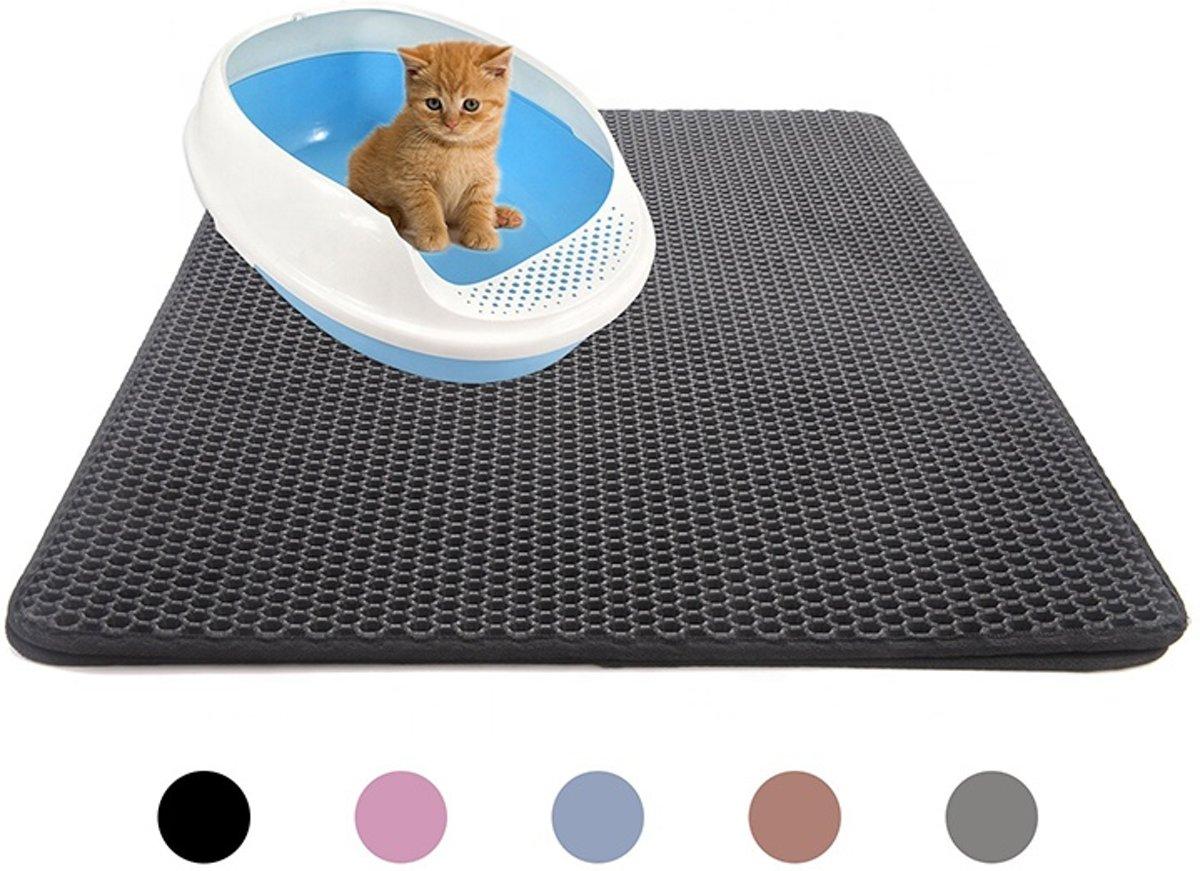 Handige Kattenbak Mat - Grit Opvanger - Dubbellaags & Waterdichte mat voor Katten - Katten Mat met Filter voor Grit - Kattenbak Mat voor Kattenbak - Zwart kopen