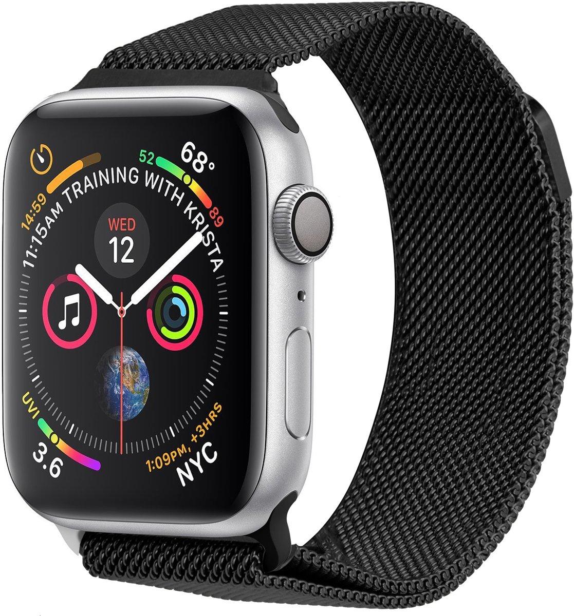 Zwart Milanese design watch band voor de Apple Watch 40 / 38 mm kopen