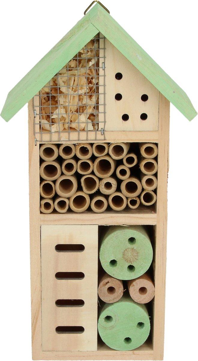 Insectenhotel met ophanghaakje voor in de Tuin Klein Groen – 26x13x8,5 cm | Terras | Balkon | Bijen | Natuurmonumenten | Tuindecoratie