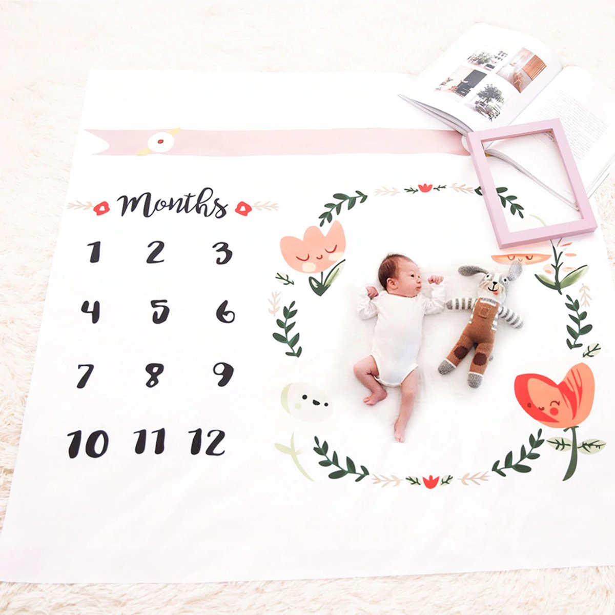 Mijlpaaldeken baby, milestone blanket, kraamkado, mijlpalen