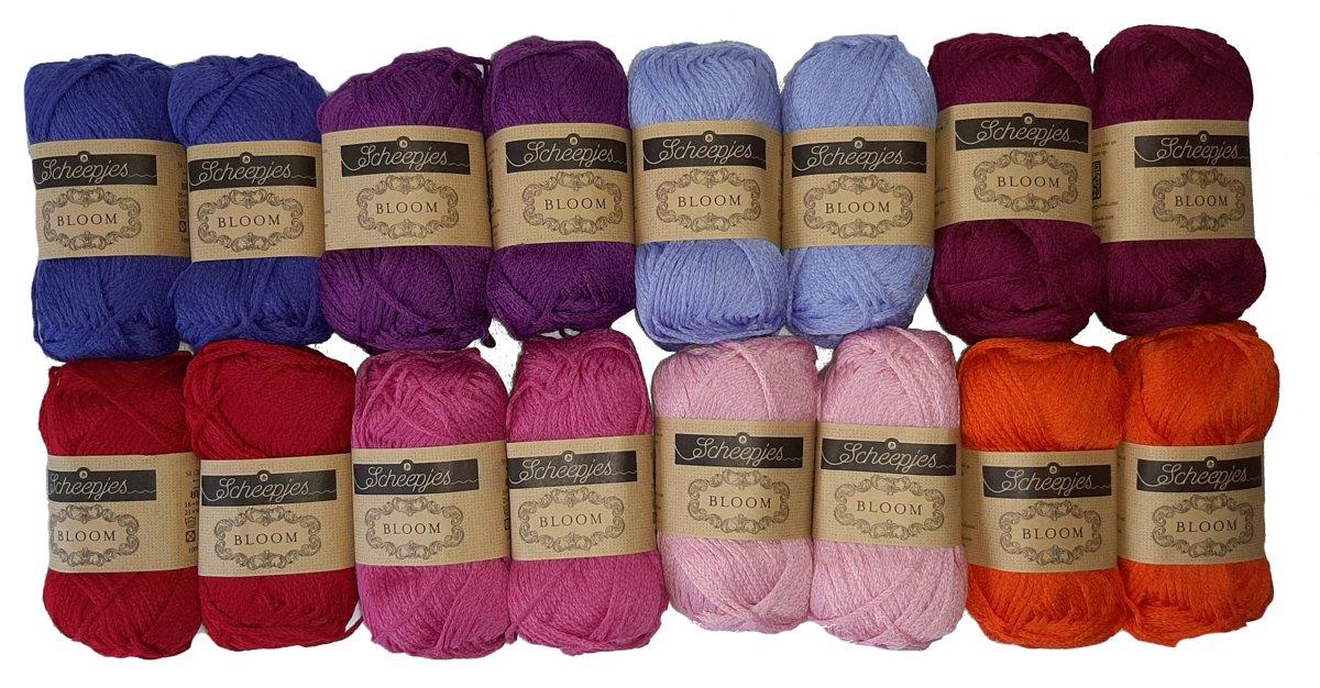 Afbeelding van product Scheepjes BLOOM Ass Pakket Roze 8 kleuren 2 x 50 gr = 16 bollen DUURZAAM