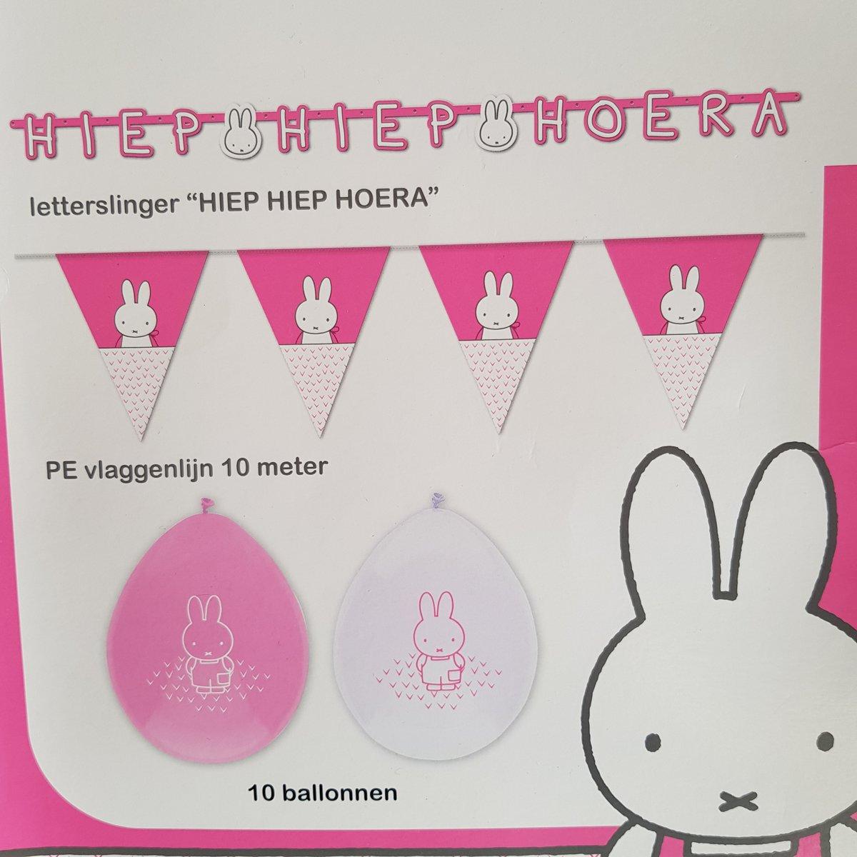 Nijntje Feestpakket Roze, 12-delig, 10 ballonnen, 10 meter vlaggenlijn en letterslinger