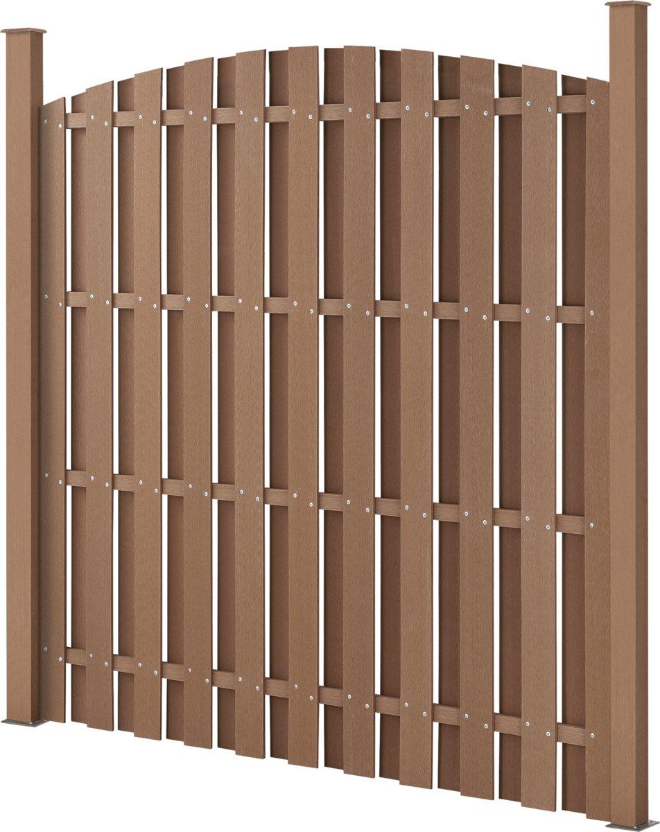 WPC schutting met palen gebogen ontwerp - bruin kopen
