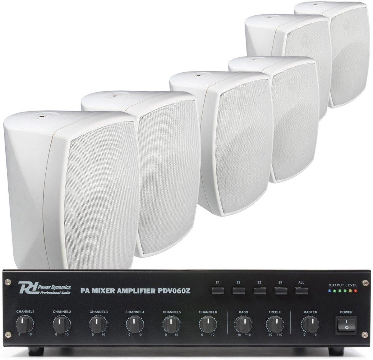 100V Bundelset Met 6 opbouw speakers wit - 4 zones kopen