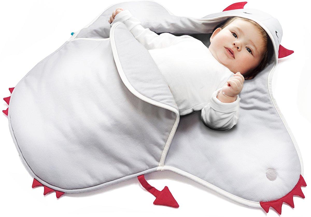 Wallaboo Babydeken Coco - Handige wikkeldeken en wrapper - 100% zacht katoen - pasgeboren tot 9 maanden - Geschikt voor autostoel, kinderwagen, box, ledikant - 70 * 90 cm - Kleur: zilver duiveltje kopen