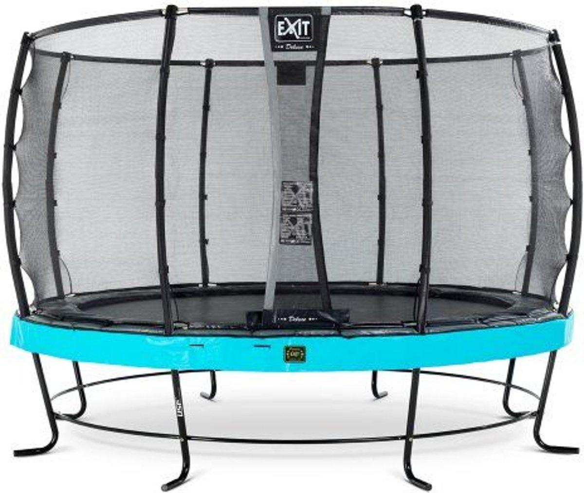 EXIT Elegant Premium trampoline ø366cm met veiligheidsnet Economy - blauw