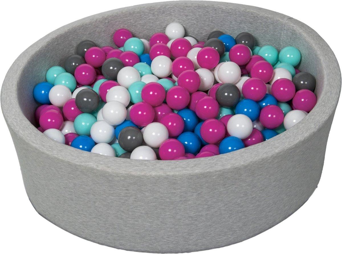 Zachte Jersey baby kinderen Ballenbak met 450 ballen,  - wit, blauw, roze, grijs, turkoois