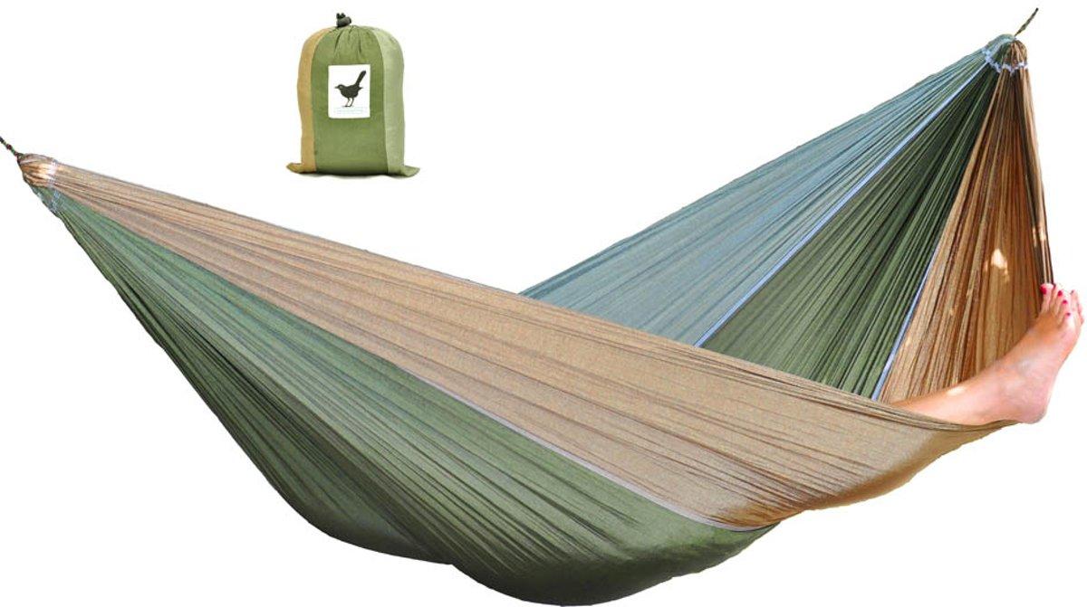 XXL 2 persoons (reis)hangmat Camouflage - incl. set touwen - Groen/Bruin