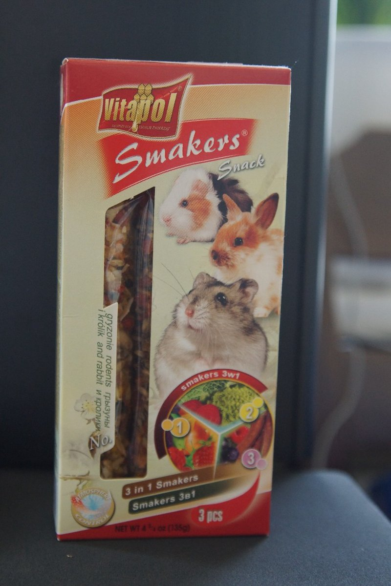 """3 in 1 """"Smaker"""" voor knaagdieren en konijnen - 3 x 110gr"""