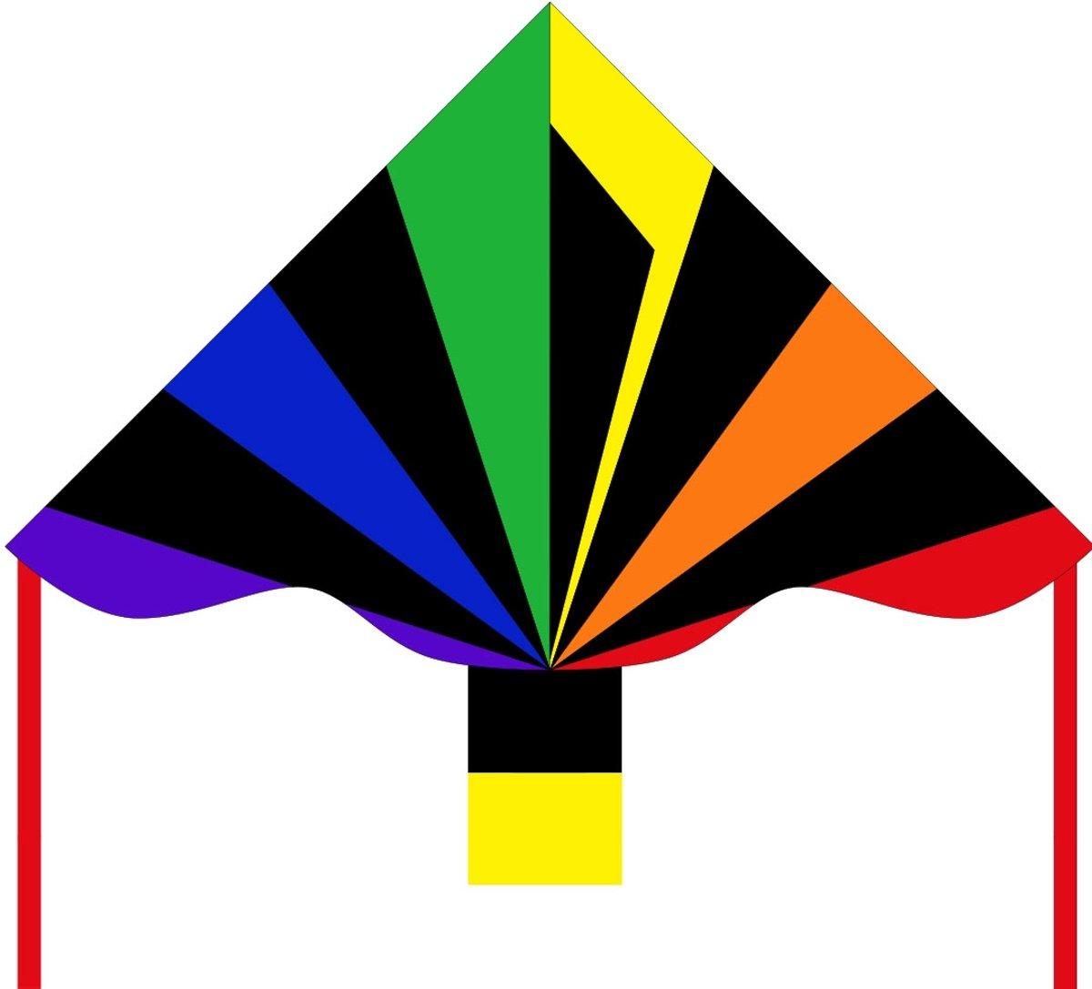 Invento Eenlijnskindervlieger Simple Flyer Black Rainbow 120 Cm