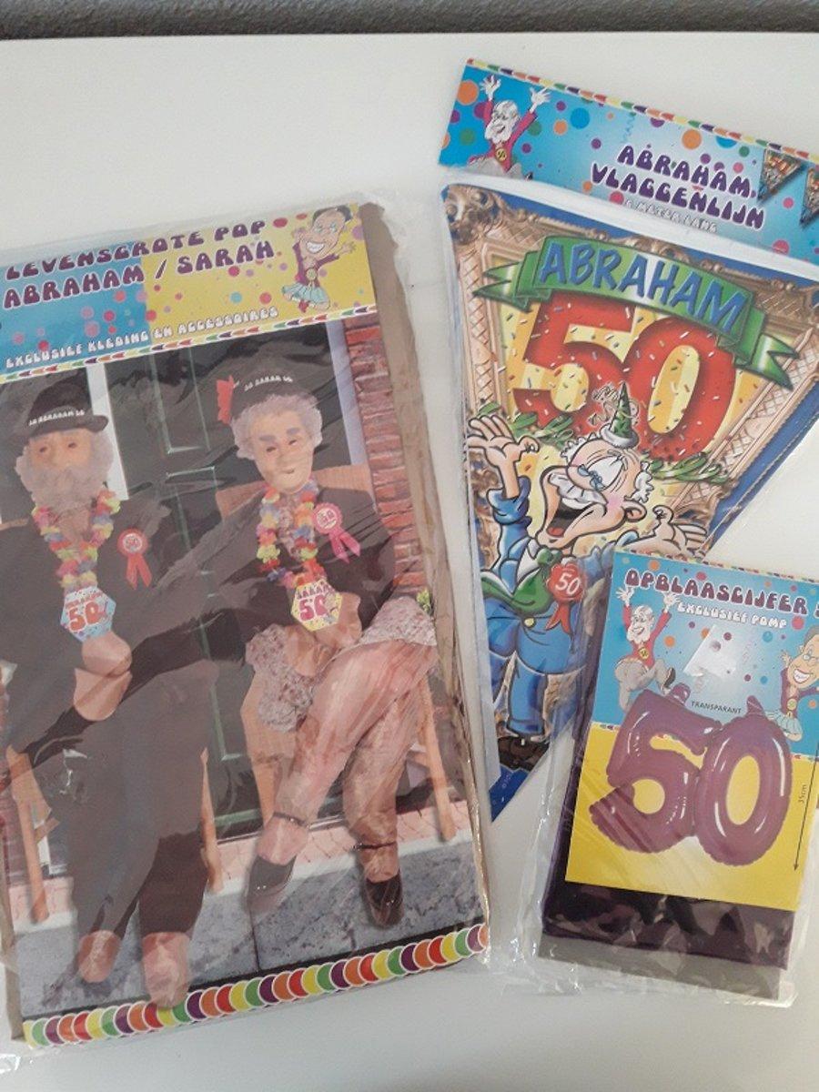 Afbeelding van product Abraham feestpakket 3-delig, vlaggenlijn 5 mtr., opvulpop en opblaascijfer 50 - verjaardag