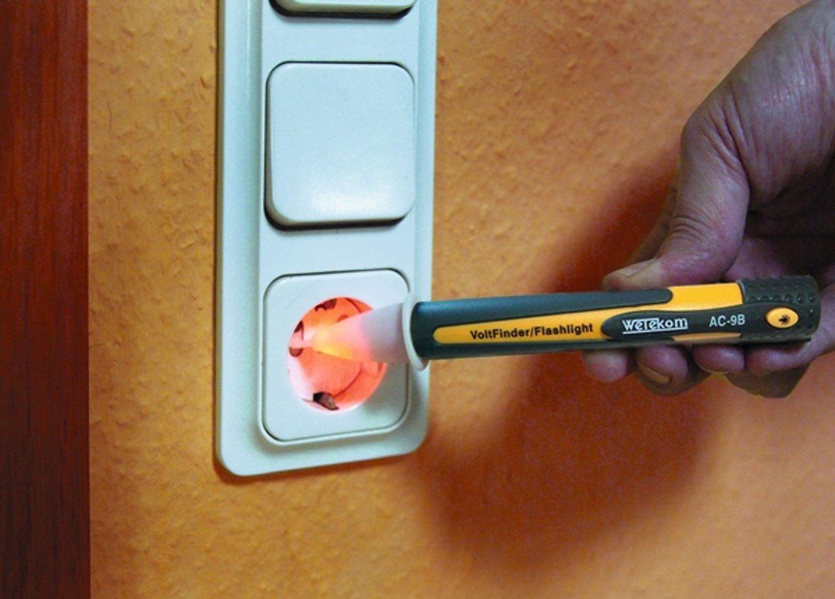 Wetekom Spanningstester met LED-zaklamp, contactloos, visueel en akoestisch, buzzer kopen