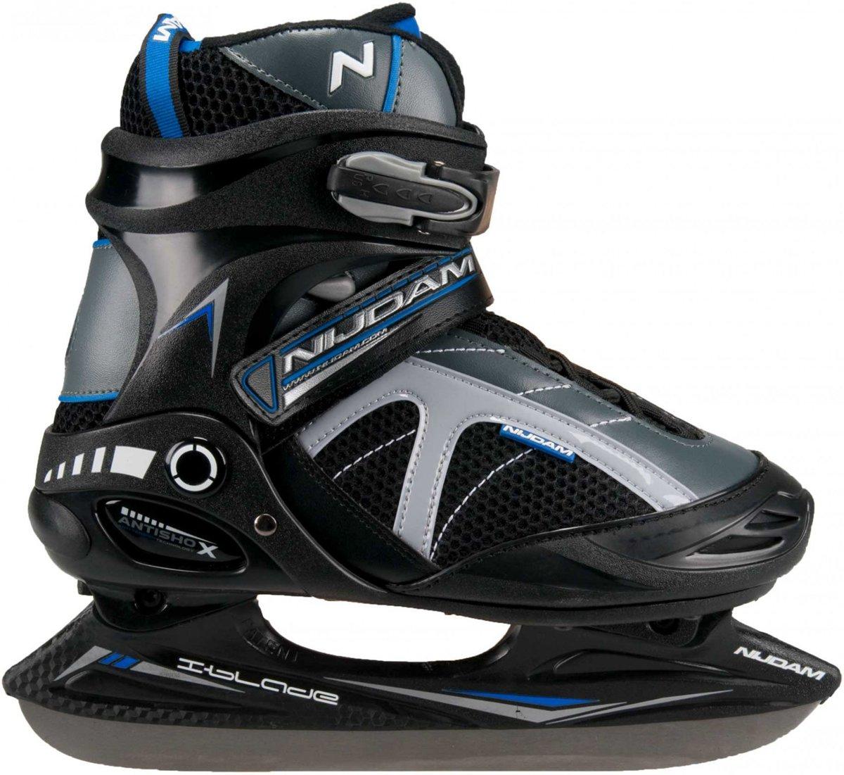 Nijdam Ijshockeyschaats - Semi-Softboot - Grijs/Zwart/Blauw - Maat 37