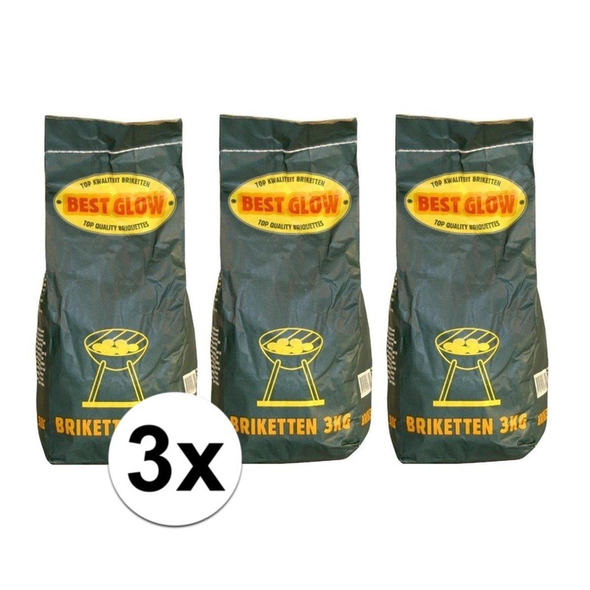 3 zakken bbq houtskool briketten - 3 kilo kopen