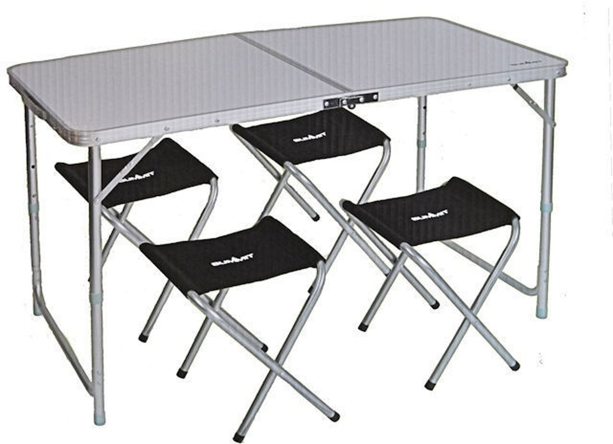 Summit Campingtafel Folding Met Stoelen Aluminium Wit 5-delig kopen
