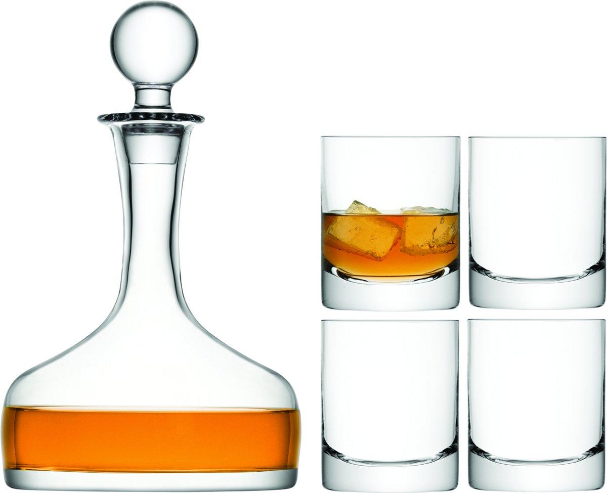L.S.A. Bar Whiskeyset - Karaf incl. 4 Glazen - Transparant kopen